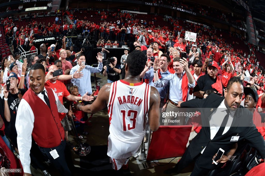 James Harden #13 of the Houston Rockets heads to the locker room after the game against the Oklahoma City Thunder during Game Two of the Western Conference Quarterfinals of the 2017 NBA Playoffs on April 19, 2017 at the Toyota Center in Houston, Texas.
