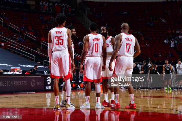 James Harden of the Houston Rockets huddles up and goes over the play in the game against the San Antonio Spurs on December 17, 2020 at the Toyota...