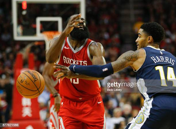 James Harden of the Houston Rockets i fouled by Gary Harris of the Denver Nuggets at Toyota Center on November 22 2017 in Houston Texas NOTE TO USER...