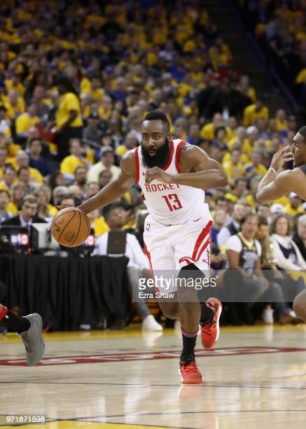 James Harden of the Houston Rockets in action against the Golden State Warriors during Game 4 of the Western Conference Finals at ORACLE Arena on May...
