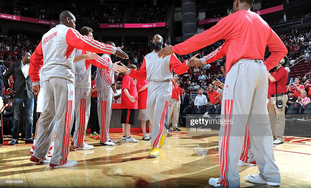 James Harden #13 of the Houston Rockets is announced before the game against the New Orleans Pelicans before the 2013 NBA pre-season game on October 5, 2013 at the Toyota Center in Houston, Texas.