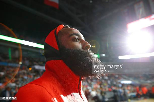 James Harden of the Houston Rockets is introduced prior to the game against the Atlanta Hawks at Philips Arena on November 3 2017 in Atlanta Georgia...