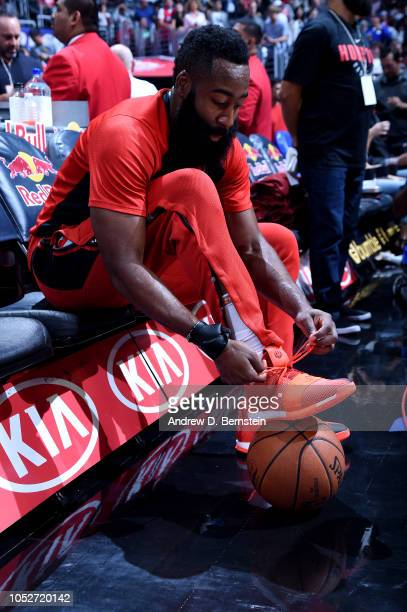 James Harden of the Houston Rockets laces up his sneakers before the game against the LA Clippers on October 21 2018 at Staples Center in Los Angeles...