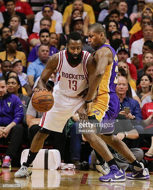 a0bebaded59 James Harden of the Houston Rockets leans in on Metta World Peace of the  Los Angeles