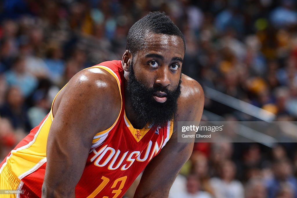 James Harden #13 of the Houston Rockets looks into the camera during a break in the action against the Denver Nuggets on April 6, 2013 at the Pepsi Center in Denver, Colorado.