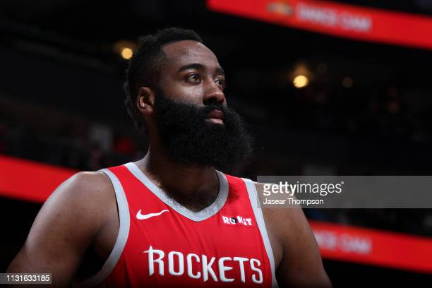 James Harden of the Houston Rockets looks on against the Atlanta Hawks on March 19 2019 at State Farm Arena in Atlanta Georgia NOTE TO USER User...