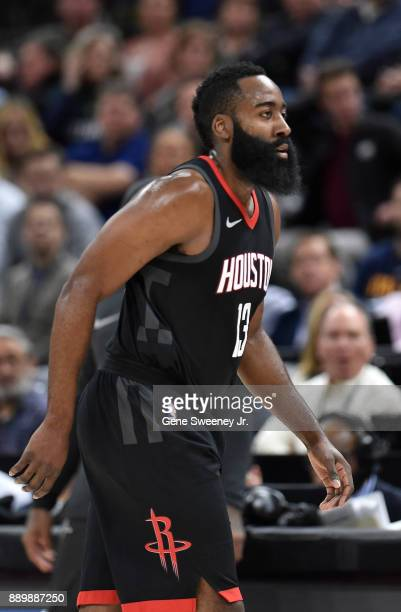 James Harden of the Houston Rockets looks on against the Utah Jazz during their game at Vivint Smart Home Arena on December 7 2017 in Salt Lake City...