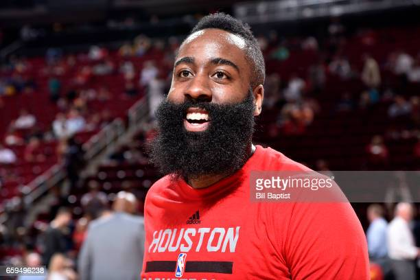James Harden of the Houston Rockets looks on before the game against the Golden State Warriors on March 28 2017 at the Toyota Center in Houston Texas...