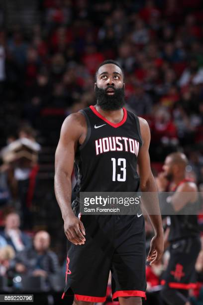 James Harden of the Houston Rockets looks on during game against the Portland Trail Blazers on December 9 2017 at the Moda Center in Portland Oregon...