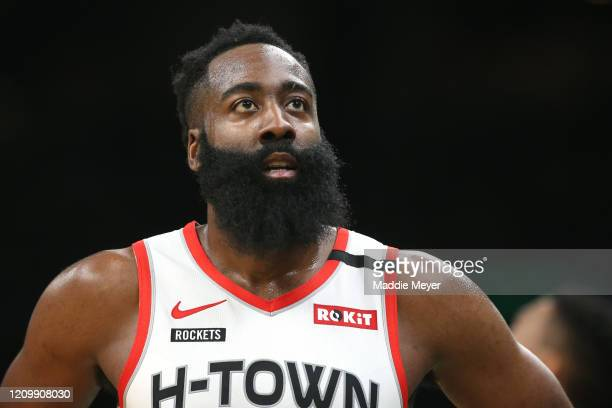 James Harden of the Houston Rockets looks on during the first half of the game against the Boston Celtics at TD Garden on February 29, 2020 in...