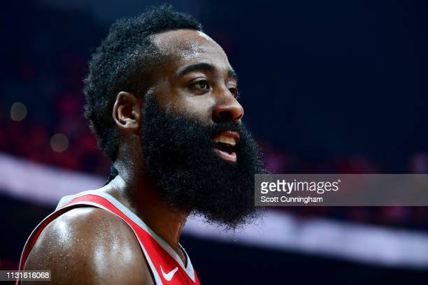 James Harden of the Houston Rockets looks on during the game against the Atlanta Hawks on March 19 2019 at State Farm Arena in Atlanta Georgia NOTE...