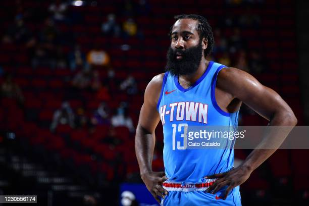 James Harden of the Houston Rockets looks on during the game against the Los Angeles Lakers on January 12, 2021 at the Toyota Center in Houston,...