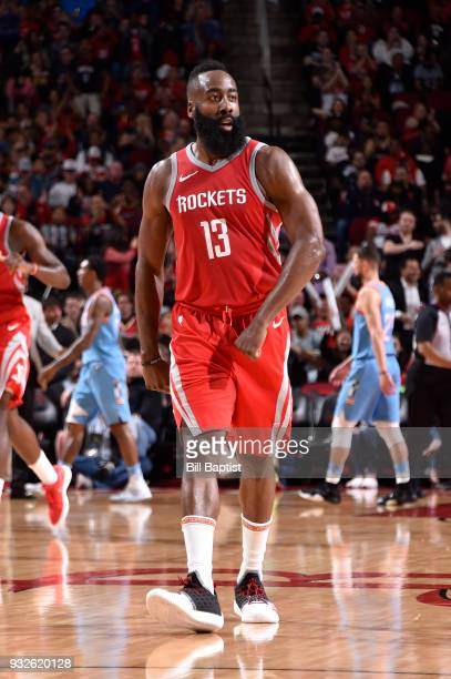 James Harden of the Houston Rockets looks on during the game against the LA Clippers on March 15 2018 at the Toyota Center in Houston Texas NOTE TO...
