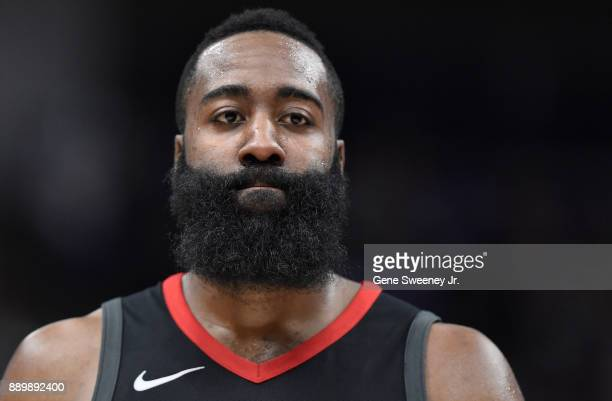 James Harden of the Houston Rockets looks on during their game against the Utah Jazz at Vivint Smart Home Arena on December 7 2017 in Salt Lake City...