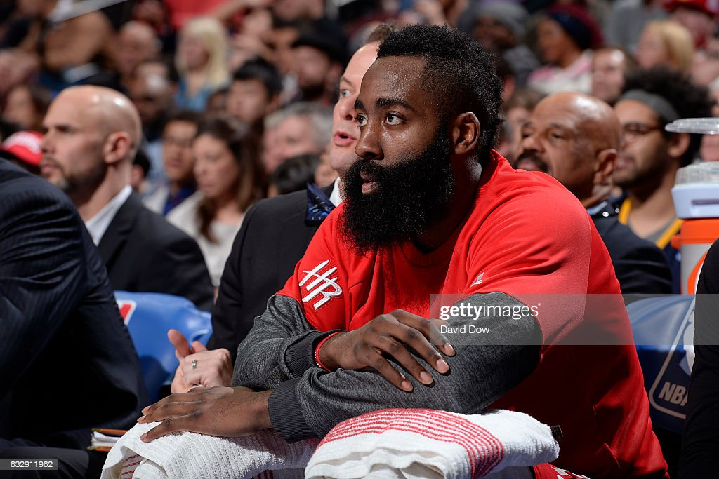 James Harden #13 of the Houston Rockets looks on from the bench during the game against the Philadelphia 76ers at Wells Fargo Center on January 27, 2017 in Philadelphia, Pennsylvania