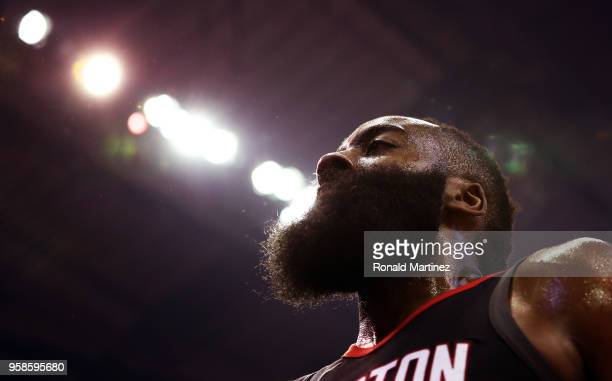James Harden of the Houston Rockets looks on in the first half against the Golden State Warriors in Game One of the Western Conference Finals of the...