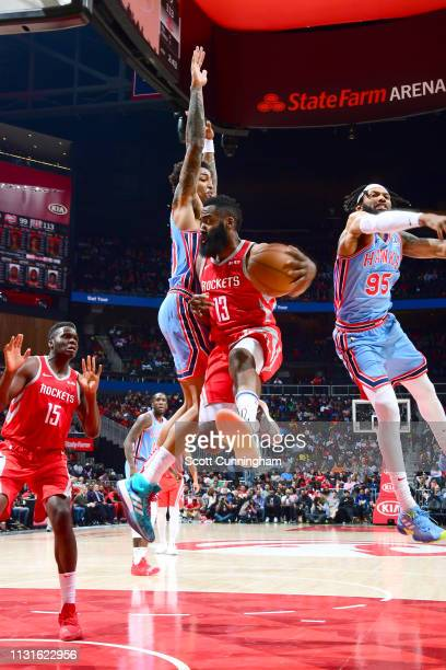 James Harden of the Houston Rockets looks to pass the ball against the Atlanta Hawks on March 19 2019 at State Farm Arena in Atlanta Georgia NOTE TO...