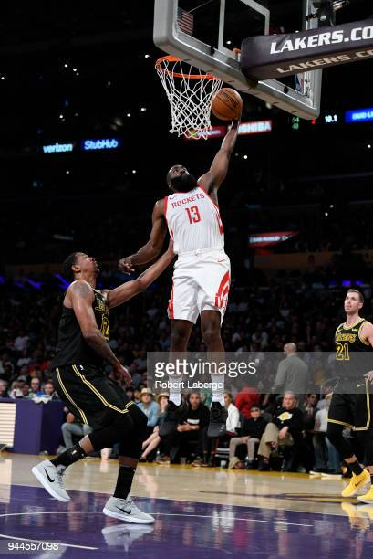 James Harden of the Houston Rockets makes a dunk against Channing Frye of the Los Angeles Lakers on April 10 2018 at STAPLES Center in Los Angeles...