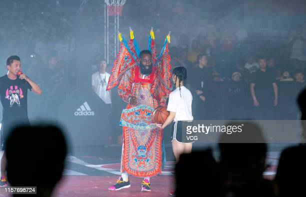 James Harden of the Houston Rockets meets fans at Beijing University of Technology on June 22, 2019 in Beijing, China.