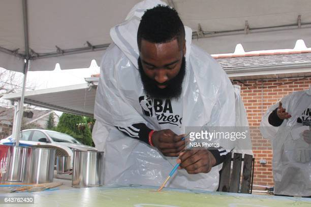 James Harden of the Houston Rockets participates during the NBA Cares Day of Service as part of 2017 AllStar Weekend at the KaBOOM Rebuilding...