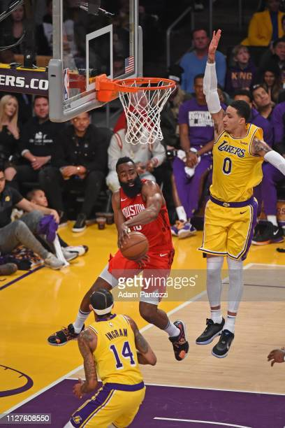 James Harden of the Houston Rockets pass the ball against the Los Angeles Lakers on February 21 2019 at STAPLES Center in Los Angeles California NOTE...