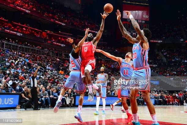 James Harden of the Houston Rockets passes the ball against the Atlanta Hawks on March 19 2019 at State Farm Arena in Atlanta Georgia NOTE TO USER...
