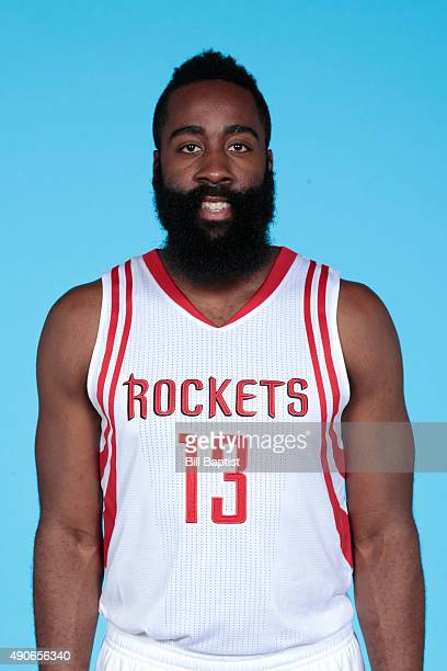 James Harden of the Houston Rockets poses for a photo during NBA Media Day at the Toyota Center on September 28 2015 in Houston Texas NOTE TO USER...