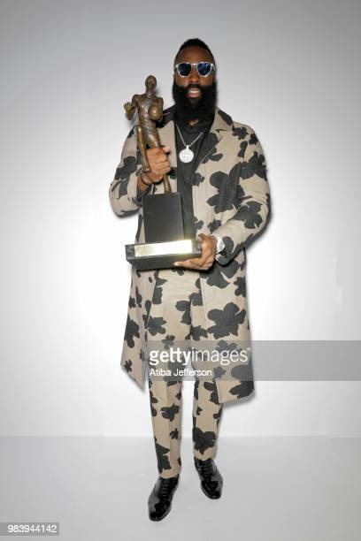 James Harden of the Houston Rockets poses for a portrait after winning the Most Valuable Player Award at the NBA Awards Show on June 25 2018 at the...