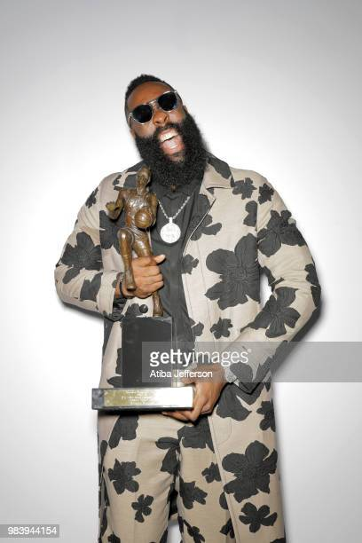 James Harden of the Houston Rockets poses for a portrait after winning the Most Valuable Player Award at the NBA Awards Show on June 25, 2018 at the...