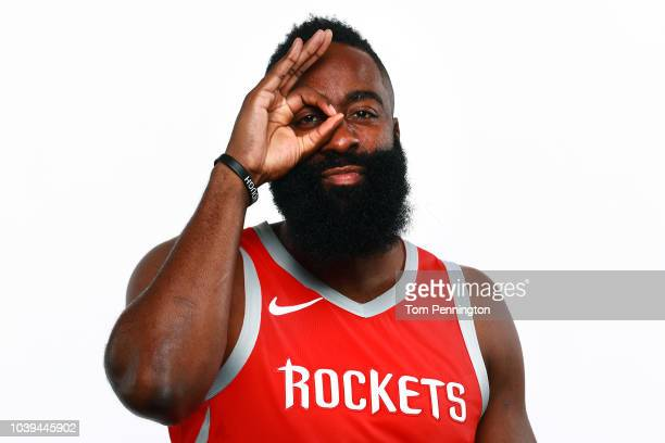 James Harden of the Houston Rockets poses for a portrait during the Houston Rockets Media Day at The Post Oak Hotel at Uptown Houston on September...