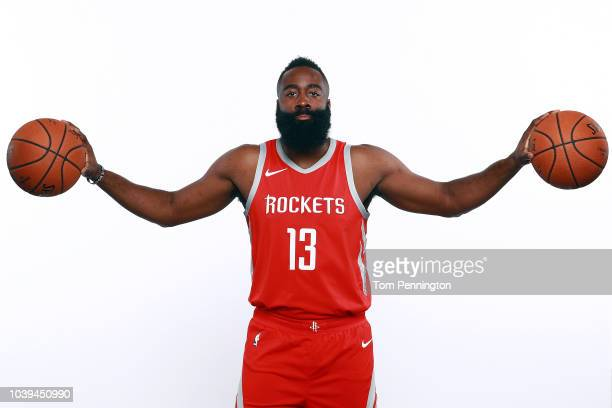 James Harden of the Houston Rockets poses for a portrait during the Houston Rockets Media Day at The Post Oak Hotel at Uptown Houston on September 24...