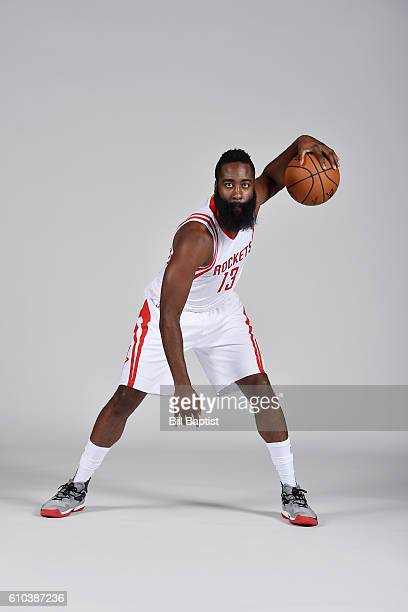 James Harden of the Houston Rockets poses for a portrait during the 2016 NBA Media Day at the Toyota Center on September 24 2016 in Houston Texas...