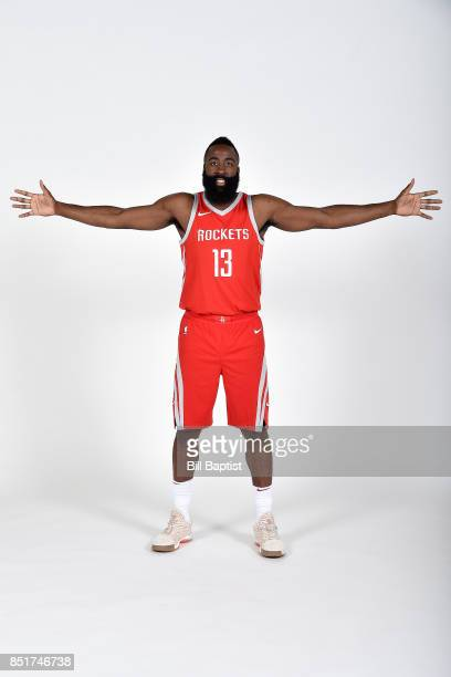 James Harden of the Houston Rockets poses for a portrait during the 201718 Houston Rockets Media Day on September 22 2017 at the Toyota Center in...