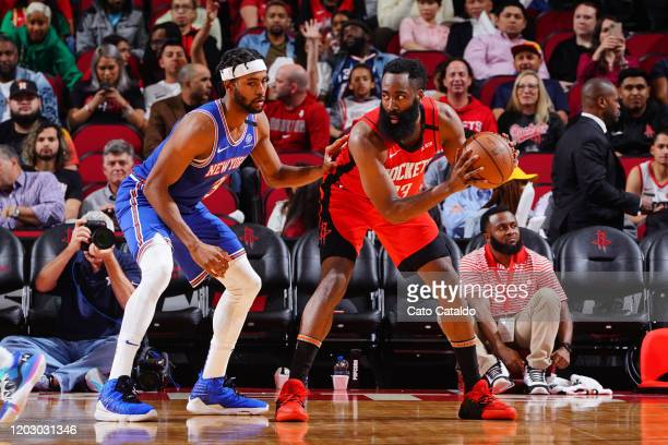 James Harden of the Houston Rockets posts up on Maurice Harkless of the New York Knicks on February 24 2020 at the Toyota Center in Houston Texas...