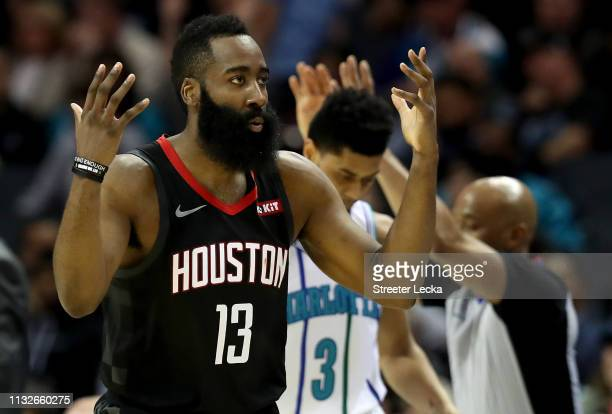 James Harden of the Houston Rockets reacts after a play against the Charlotte Hornets during their game at Spectrum Center on February 27 2019 in...
