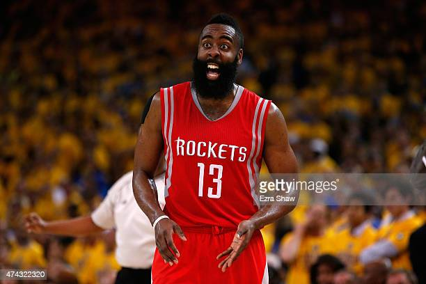 James Harden of the Houston Rockets reacts after a play in the fourth quarter against the Golden State Warriors during game two of the Western...