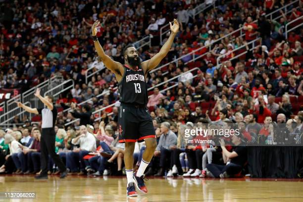 James Harden of the Houston Rockets reacts after a three point shot in the second half against the Minnesota Timberwolves at Toyota Center on March...