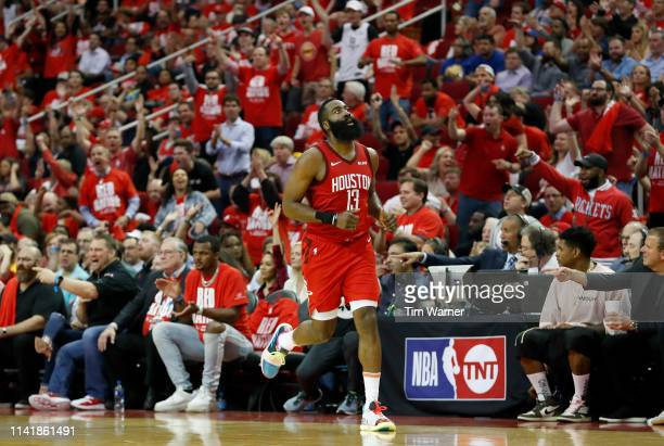 James Harden of the Houston Rockets reacts after a three point shot in the third quarter during Game Four of the Second Round of the 2019 NBA Western...
