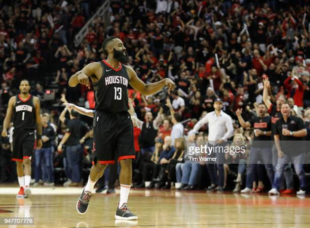 a7dc95c7fddf James Harden of the Houston Rockets reacts after a three point shot in the  second half
