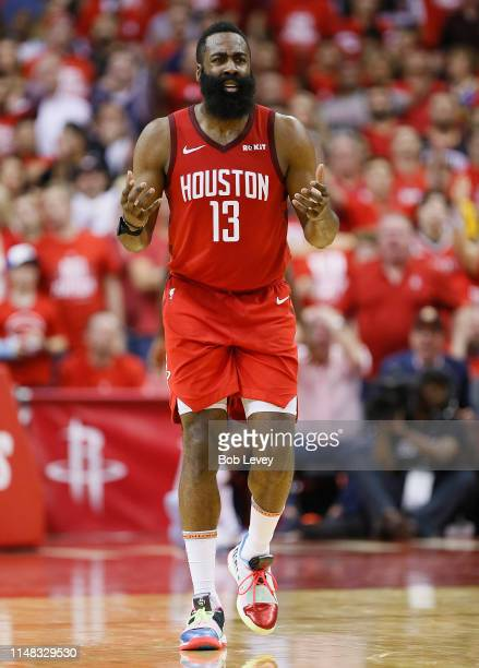 James Harden of the Houston Rockets reacts after being called for a foul against the Golden State Warriors during Game Six of the Western Conference...