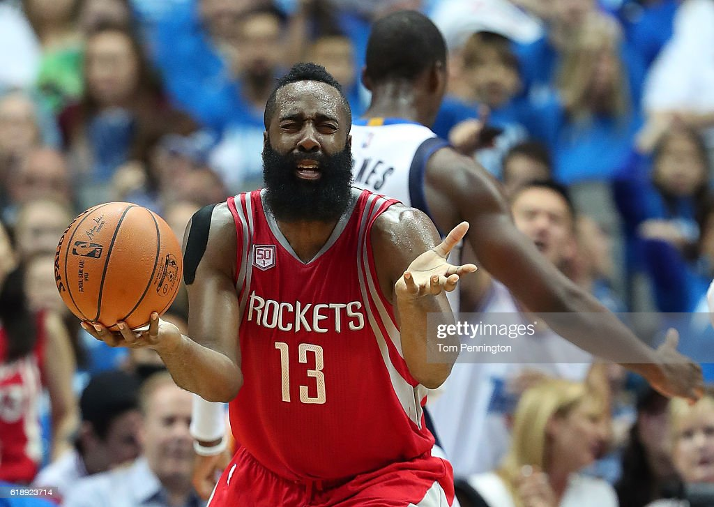 James Harden #13 of the Houston Rockets reacts after being charged with a foul against the Dallas Mavericks in the second half at American Airlines Center on October 28, 2016 in Dallas, Texas.