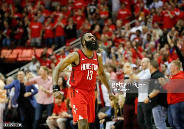 James Harden of the Houston Rockets reacts after Game Three of the Second Round of the 2019 NBA Western Conference Playoffs against the Golden State...