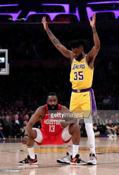 James Harden of the Houston Rockets reacts after he is fouled by Reggie Bullock of the Los Angeles Lakers while shooting a three pointer during the...