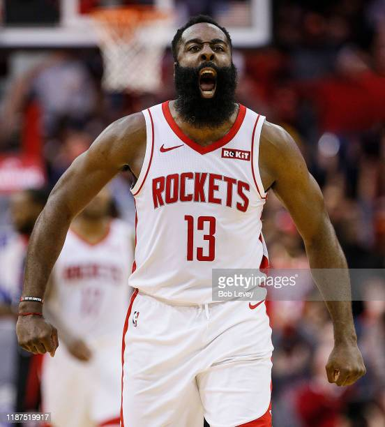 James Harden of the Houston Rockets reacts after hitting a three point shot against the Los Angeles Clippers during the fourth quarter at Toyota...