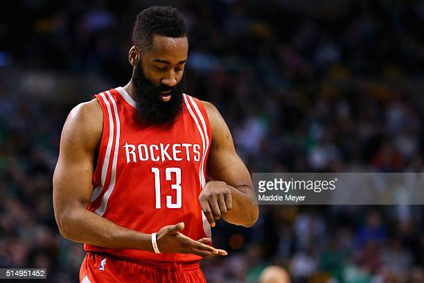 James Harden of the Houston Rockets reacts after scoring against the Boston Celtics during the fourth quarter at TD Garden on March 11 2016 in Boston...