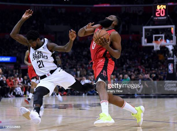 James Harden of the Houston Rockets reacts as he is called for a charge on Patrick Beverley of the LA Clippers during a 122-117 Rockets win at...