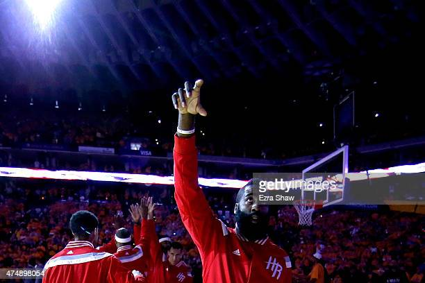 James Harden of the Houston Rockets reacts as he is introduced before game five of the Western Conference Finals of the 2015 NBA Playoffs against the...