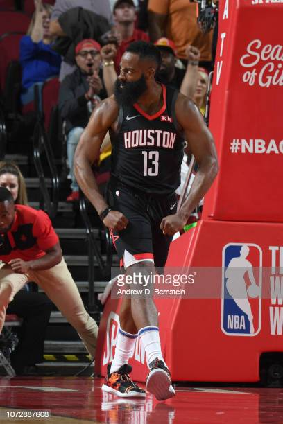 James Harden of the Houston Rockets reacts during a game against the Los Angeles Lakers on December 13 2018 at the Toyota Center in Houston Texas...