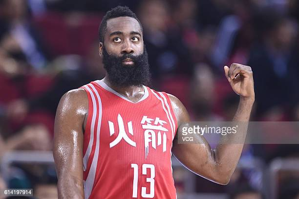 James Harden of the Houston Rockets reacts during a match between Houston Rockets and New Orleans Pelicans as part of the 2016 Global Games - China...