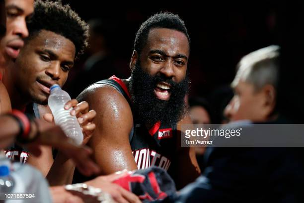 James Harden of the Houston Rockets reacts during a timeout in the second half against the Portland Trail Blazers at Toyota Center on December 11...